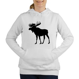 Moose: Black Women's Hooded Sweatshirt