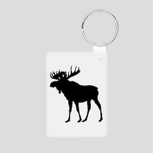 Moose: Black Aluminum Photo Keychain