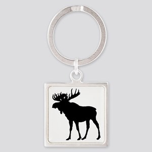 Moose: Black Square Keychain