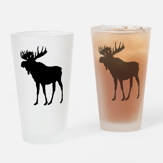 Moose: Black Drinking Glass