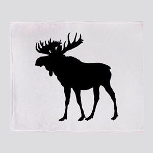 Moose: Black Throw Blanket