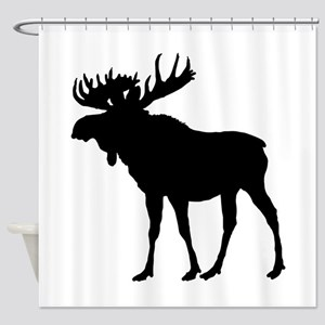 Moose: Black Shower Curtain