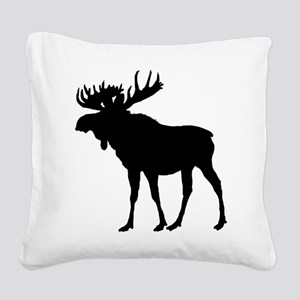 Moose: Black Square Canvas Pillow