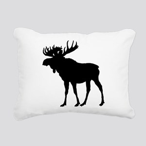 Moose: Black Rectangular Canvas Pillow