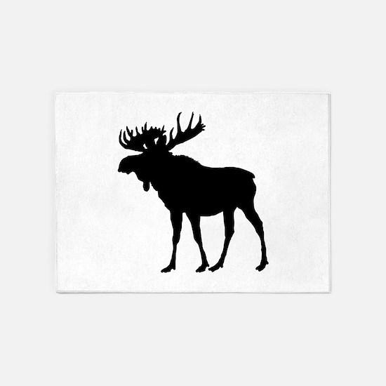 Moose: Black 5'x7'Area Rug