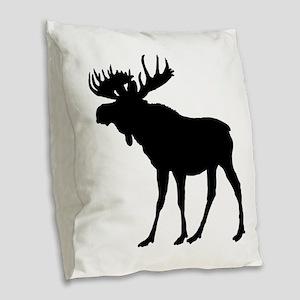 Moose: Black Burlap Throw Pillow
