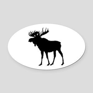 Moose: Black Oval Car Magnet