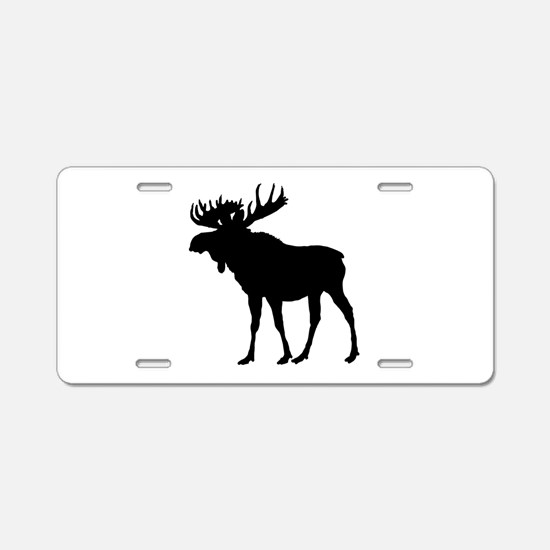 Moose: Black Aluminum License Plate