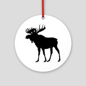 Moose: Black Round Ornament