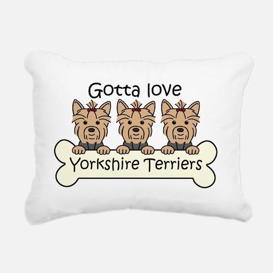 Unique Yorkshire terriers Rectangular Canvas Pillow