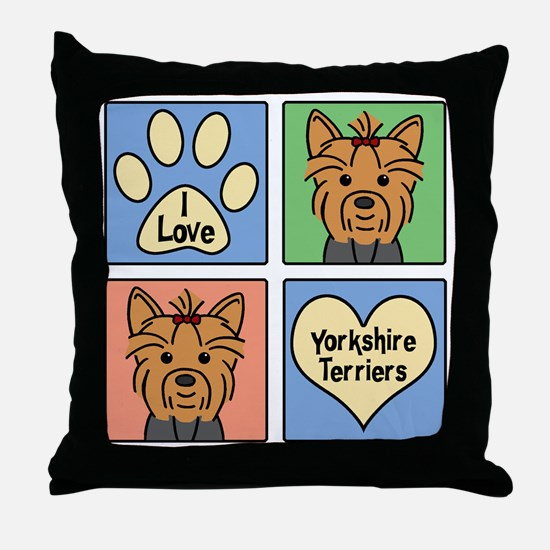 Cute Yorkshire terriers Throw Pillow