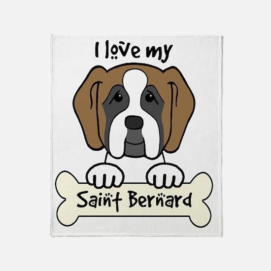 Cute Saint bernard Throw Blanket