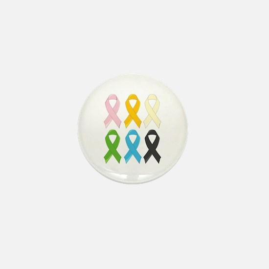SIx Awareness Ribbons Mini Button