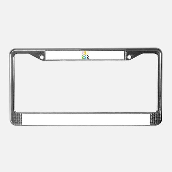 SIx Awareness Ribbons License Plate Frame