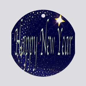 New Year Card Round Ornament