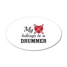 Heart Belongs Drummer 22x14 Oval Wall Peel