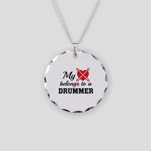 Heart Belongs Drummer Necklace Circle Charm