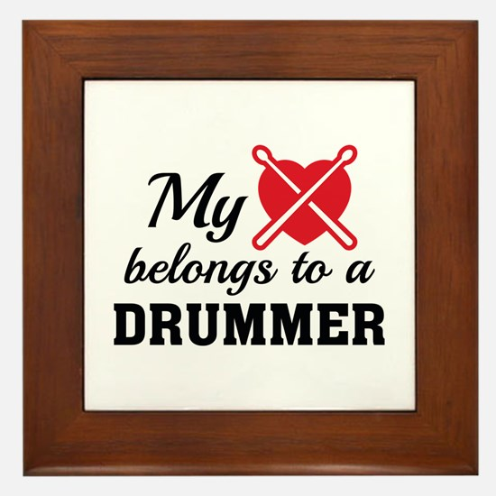 Heart Belongs Drummer Framed Tile
