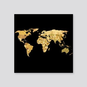 "'Gold Foil Map' Square Sticker 3"" x 3"""