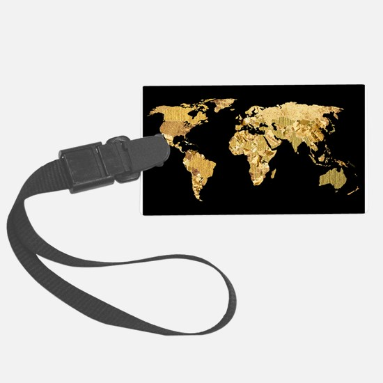 'Gold Foil Map' Luggage Tag