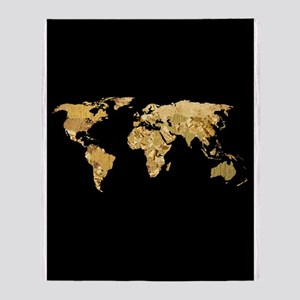 'Gold Foil Map' Throw Blanket