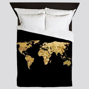 'Gold Foil Map' Queen Duvet