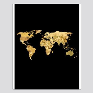'Gold Foil Map' Small Poster