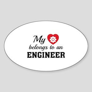 Heart Belongs Engineer Sticker (Oval)