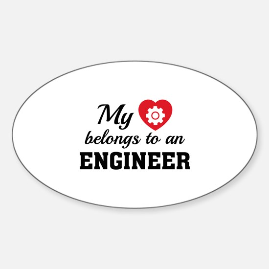 Heart Belongs Engineer Sticker (Oval)