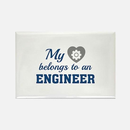 Heart Belongs Engineer Rectangle Magnet