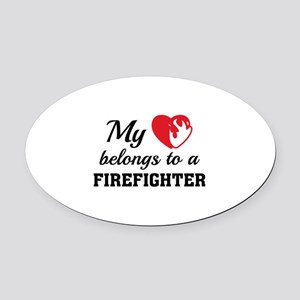 Heart Belongs Firefighter Oval Car Magnet