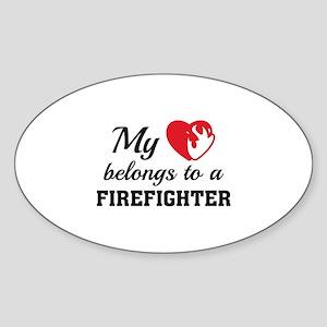 Heart Belongs Firefighter Sticker (Oval)