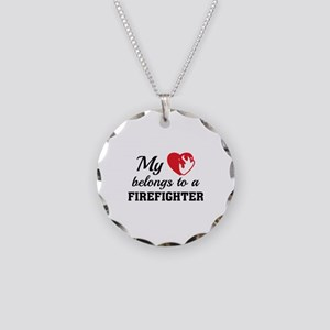 Heart Belongs Firefighter Necklace Circle Charm