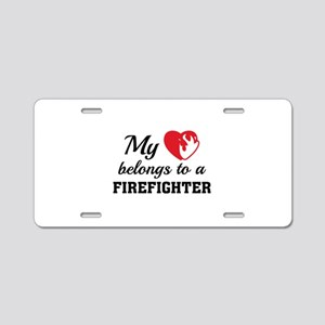 Heart Belongs Firefighter Aluminum License Plate