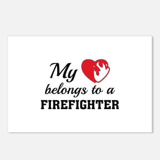 Heart Belongs Firefighter Postcards (Package of 8)