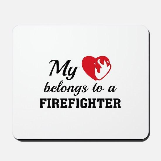 Heart Belongs Firefighter Mousepad