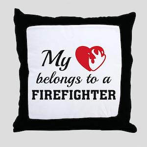 Heart Belongs Firefighter Throw Pillow