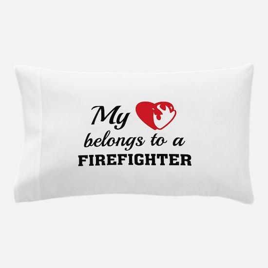 Heart Belongs Firefighter Pillow Case