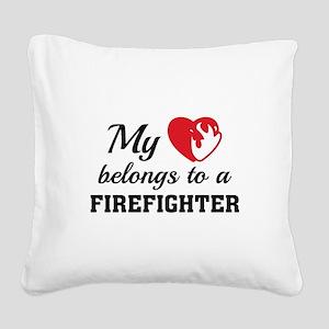 Heart Belongs Firefighter Square Canvas Pillow