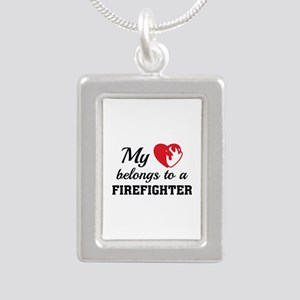 Heart Belongs Firefighter Silver Portrait Necklace