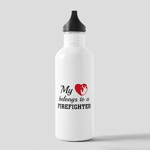 Heart Belongs Firefighter Stainless Water Bottle 1