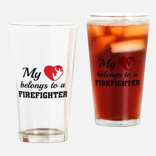 Heart Belongs Firefighter Drinking Glass