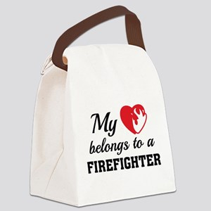 Heart Belongs Firefighter Canvas Lunch Bag