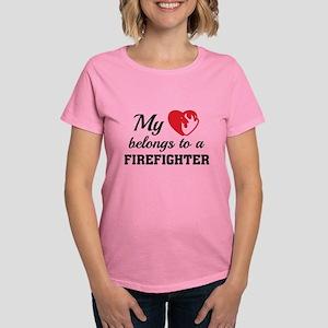 Heart Belongs Firefighter Women's Dark T-Shirt