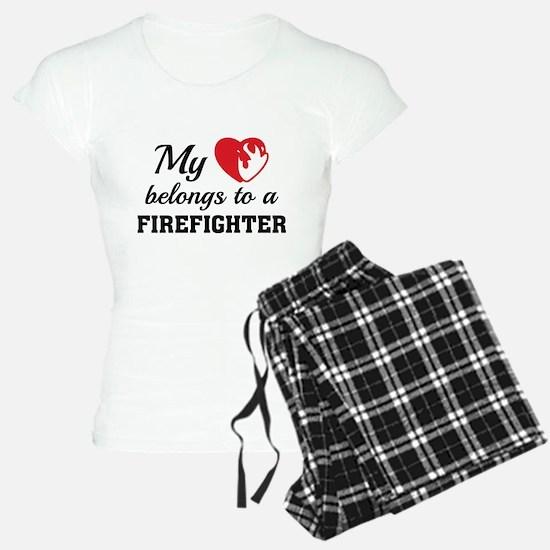 Heart Belongs Firefighter Pajamas