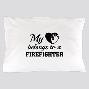 Heart Belongs Firefighter Pillow Case