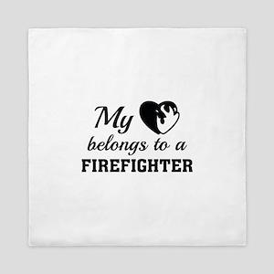 Heart Belongs Firefighter Queen Duvet