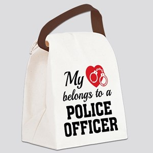 Heart Belongs Police Officer Canvas Lunch Bag