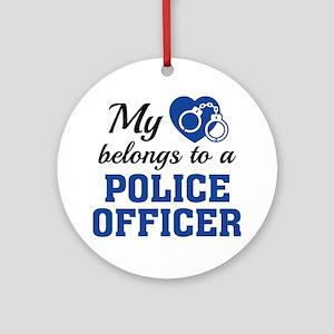 Heart Belongs Police Officer Ornament (Round)