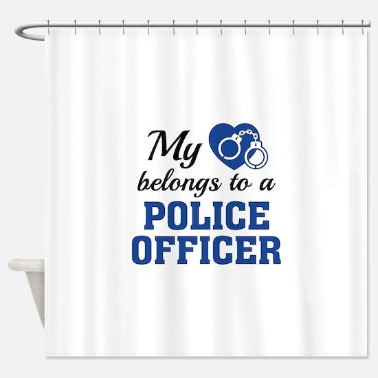 Heart Belongs Police Officer Shower Curtain